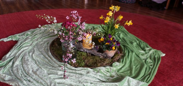 Frühlingsblumen in der Mitte
